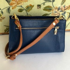 Valentina Navy Blue Leather Crossbody Satchel